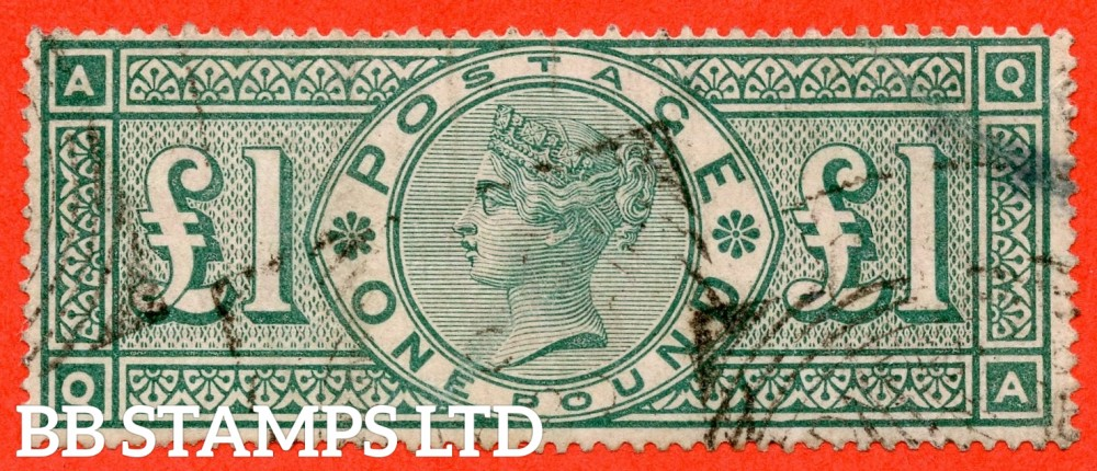 """SG. 212. K17. £1.00 Green """" QA """". A fine  """" December 9th THREADNEEDLE ST """" CDS used example of this classic Victorian high value"""