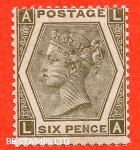 "SG. 125. J81. "" LA "". 6d grey. Plate 12. A superb UNMOUNTED MINT example of this scarce Victorian Mint issue."