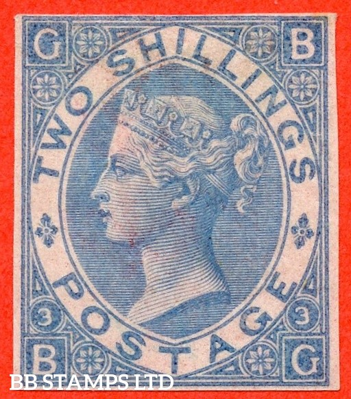 "SG. 120 b. J119. "" BG "". 2/- Milky blue. Plate 3. ABNORMAL. IMPRIMATUR. A fine example of this VERY RARE Victorian plate variety with very few recorded examples in existance."
