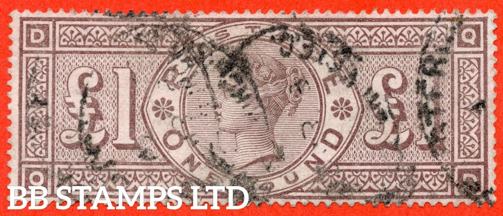 """SG. 186. K16. """" QD """". £1.00 Brown - Lilac. A good - fine used example of this RARE Victorian high value."""