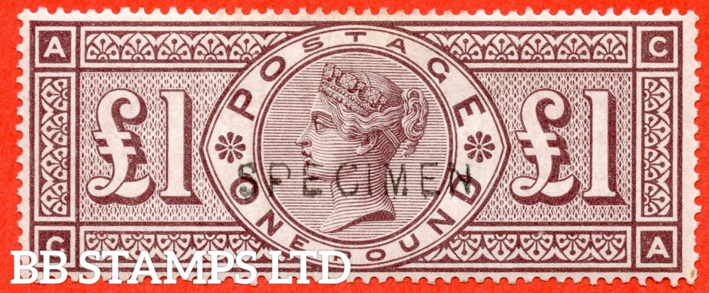 """SG. 186 s. K16 t. """" CA """". £1.00 Brown - lilac. A fine mounted mint example overprinted ' Specimen ' type 11."""