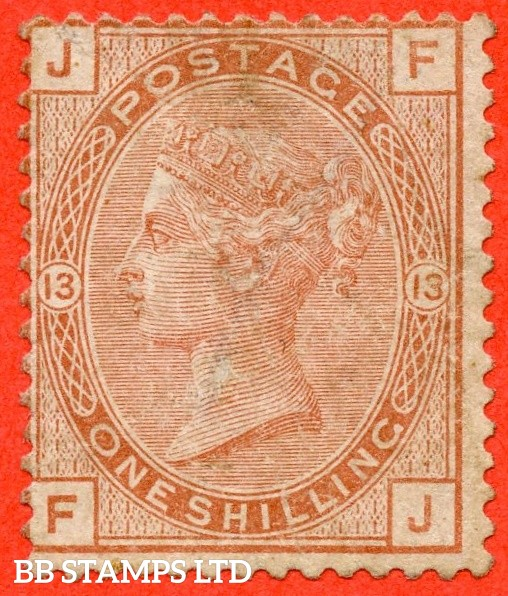"""SG. 151. J115. """" FJ """". 1/- orange brown.. Plate 13. A decent average mounted mint example of this scarce Victorian issue."""