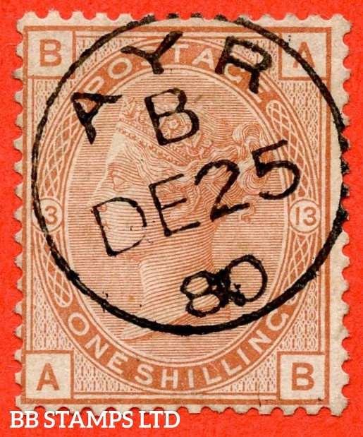 """SG. 151. J115. """" AB """". 1/- orange brown.. Plate 13. A superb upright """" 25th December 1880 """" CDS used example."""