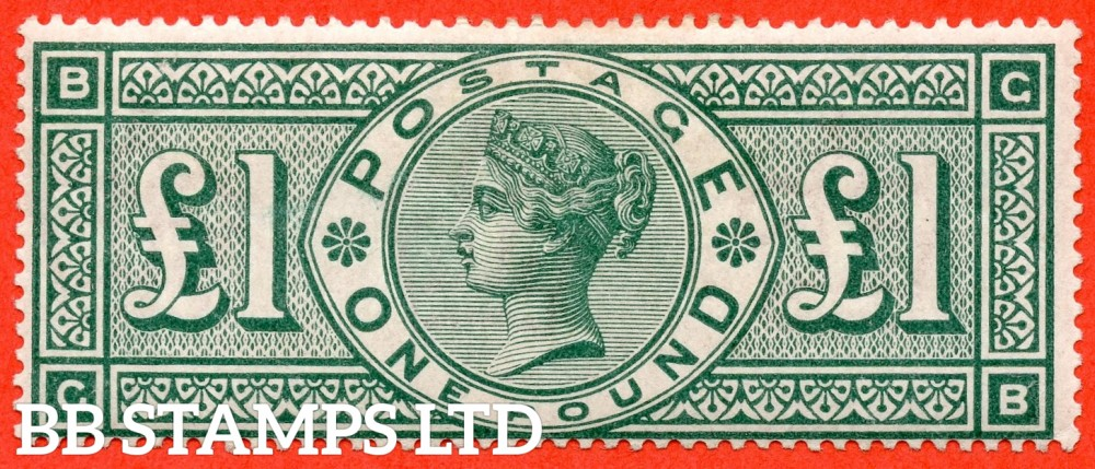"SG. 212. K17. £1.00 Green "" GB "". A fine lightly mounted mint example of this popular stamp."