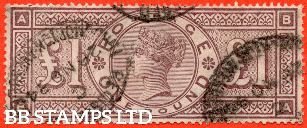 "SG. 185. K15. "" BA "". £1.00 brown - lilac. A fine "" 28th November 1884 "" used example."