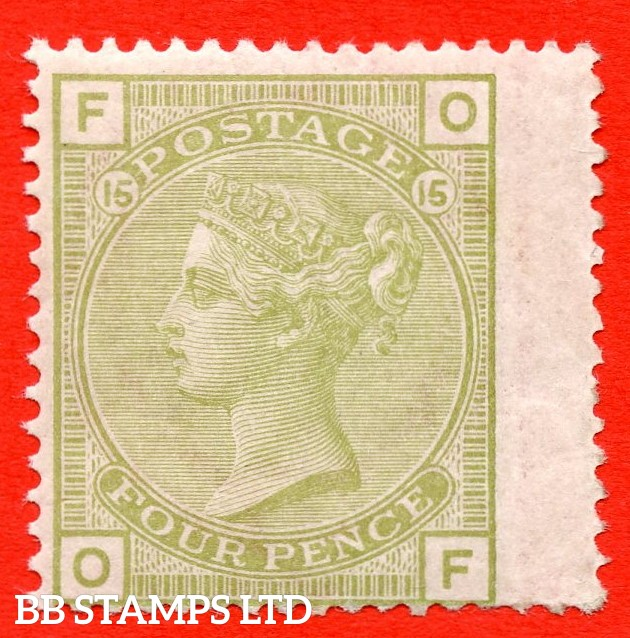 "SG. 153. J64. "" OF "". 4d Sage - Green. Plate 15. A fine UNMOUNTED MINT example complete with RPS certificate."