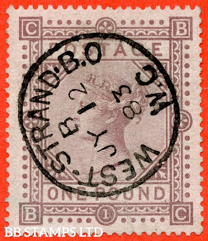 """SG. 136. J127a. """" BC """". £1.00 Brown - lilac. A SUPERB used example cancelled by a very fine """" 12th July 1883 WEST STRAND """" CDS."""