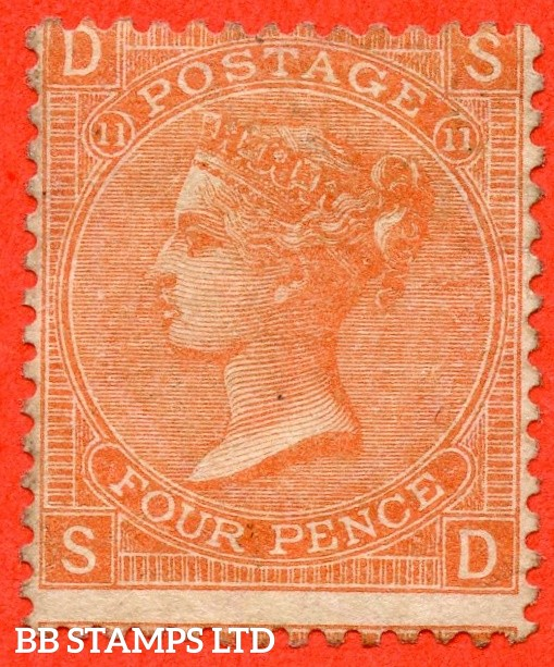 """SG. 94. J58. """" SD """". 4d Vermilion. Plate 11.  A very fine mounted mint example."""