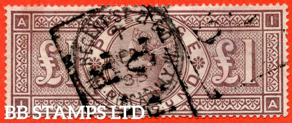 "SG. 185. K15. "" IA "". £1.00 Brown - Lilac. A good "" April 4th 1885 REGENT ST "" used example of this RARE Victorian high value."