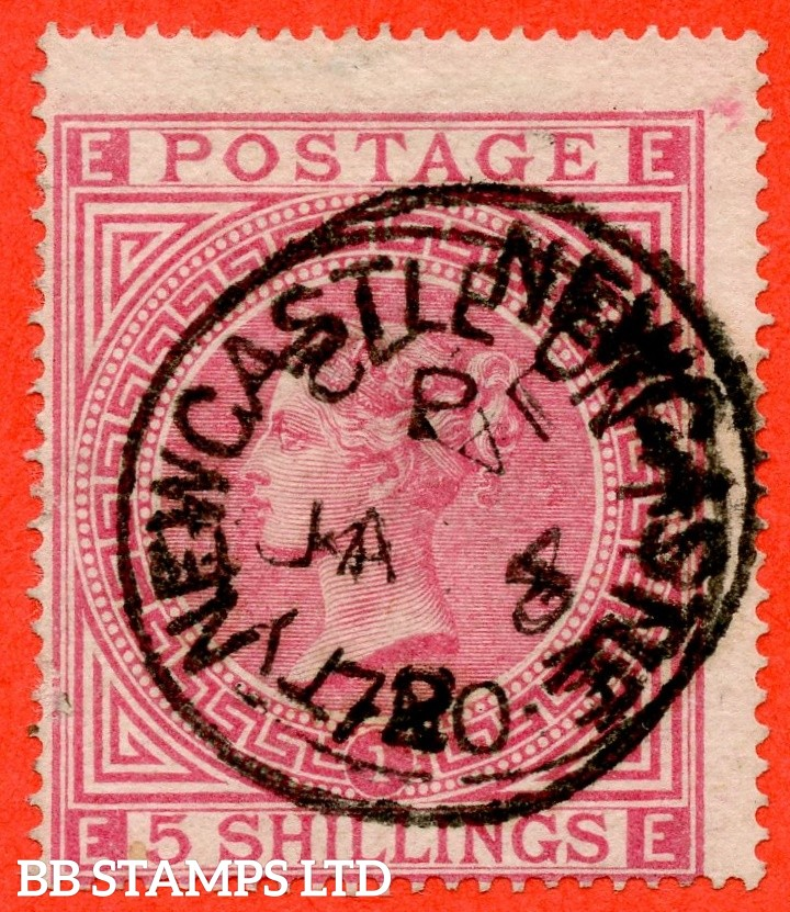 """SG. 126. J121 (1). """" EE """". 5/- Rose. Plate 1. A fine """" 4th January 1872 NEWCASTLE ON TYNE """" CDS used example."""
