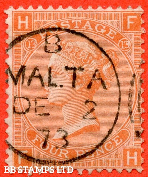 """SG. 93. J60. """" FH """". 4d Dull Vermilion. Plate 13. A very fine upright """" 2nd December 1873 MALTA """" CDS used example."""