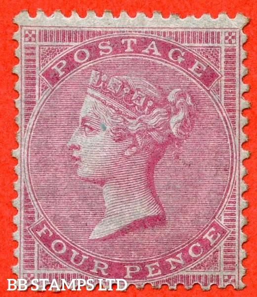 SG. 63. J48 (2). 4d carmine. Medium Garter. A mounted mint example of this RARE early Victorian Surface Printed issue.