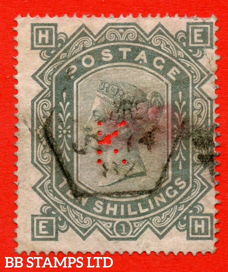 "SG. 128. J124. "" EH "". 10/- Greenish grey. A fine used example of this popular early Victorian high value. Faults but a superior looking spacefiller."
