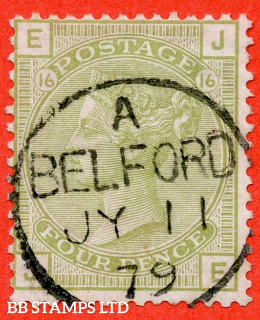 "SG. 153. J64. Z51. "" JE "". 4d Sage - Green. Plate 15. A SUPERB "" 11th July 1879 BELFORD "" CDS used example complete with RPS certificate."