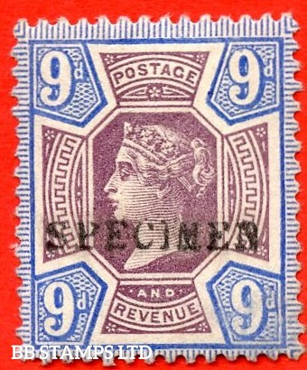 SG. 209s. K38 (1)s. 9d dull purple & blue. A fine mounted mint example overprinted by SPECIMEN type 9.