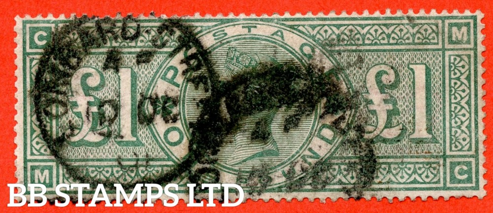 """SG. 212. K17. £1.00 Green """" MC """". A good """" October 10th 1901 LOMBARD STREET """" CDS used example of this classic Victorian high value"""