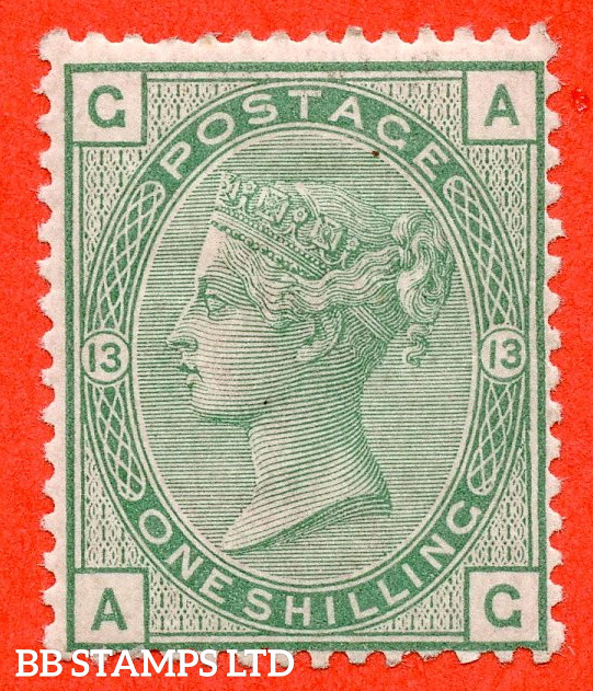 """SG. 150. J113. """" AG """". 1/- green. Plate 13. A very fine UNMOUNTED MINT example."""