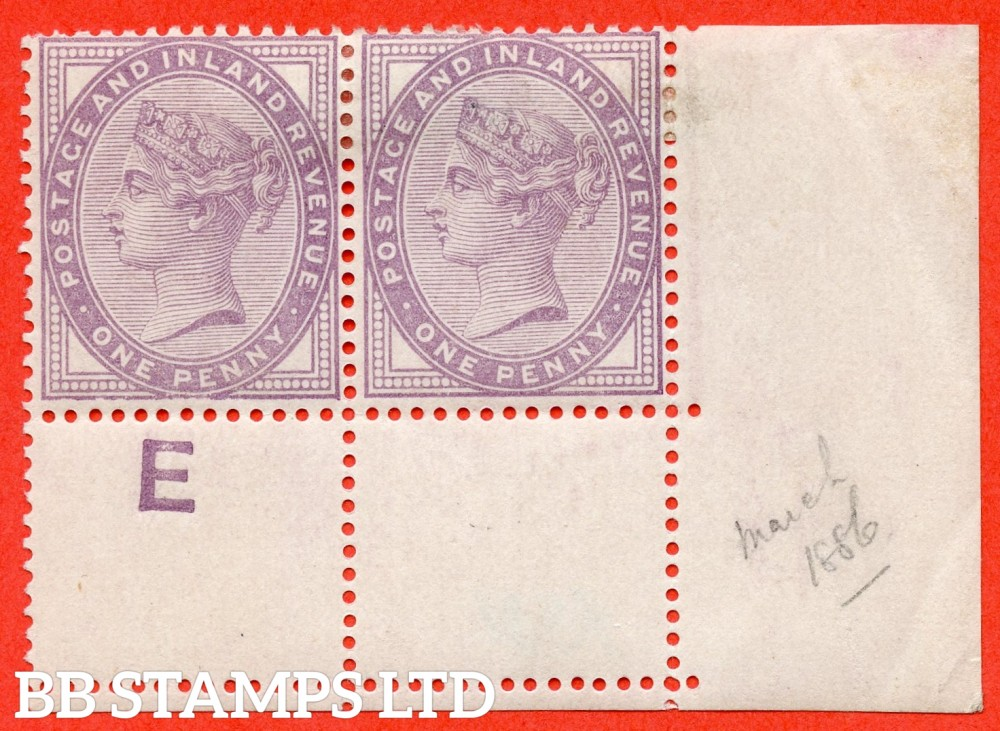 """SG. 172a. K8 (2). 1d Bluish lilac. A mounted mint control """" E perf """" bottom tight hand corner marginal pair. The left hand stamp having an UNLISTED """" DISTORTED LOWER FRAME """" variety. Complete with Brandon certificate."""