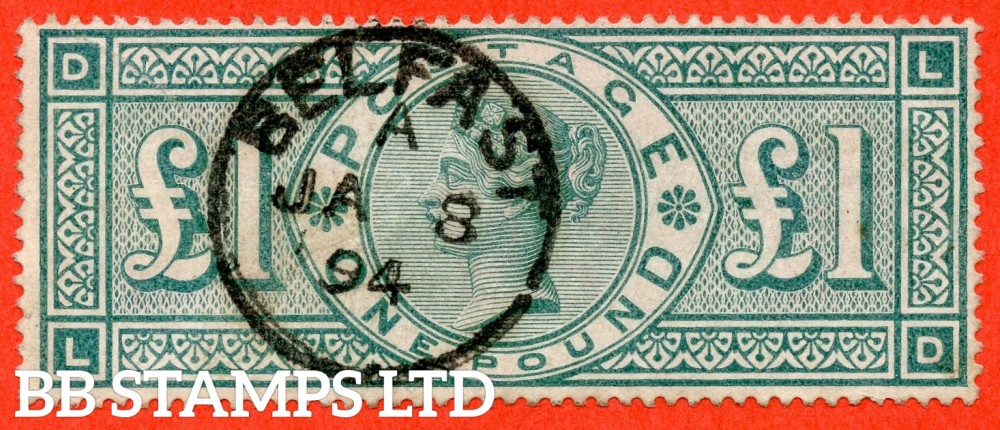"""SG. 212. K17. £1.00 Green """" LD """". A very fine """" January 8th 1894 BELFAST """" CDS used example."""