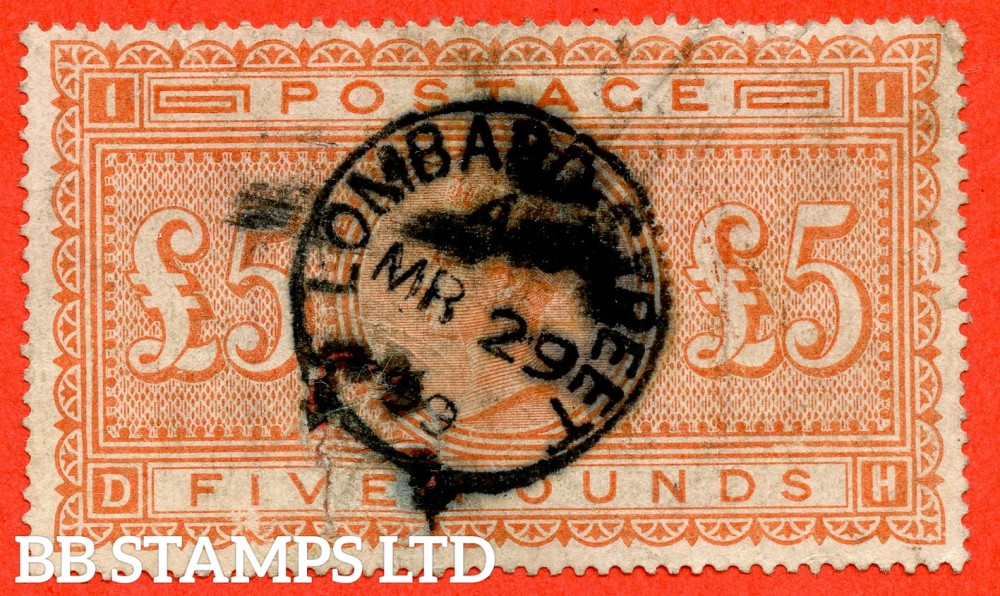 """SG. 137. J128a. """" DH """". £5.00 Orange. A good """" 29th March 1899 LOMBARD STREET """" CDS used example. Faults but a superior spacefiller."""