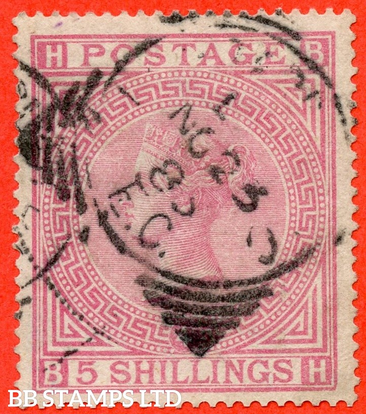 """SG. 134. J123 a. """" BH """" 5/- Rose. Plate 4. A good used example with a """" 23rd November """" squared circle cancel."""