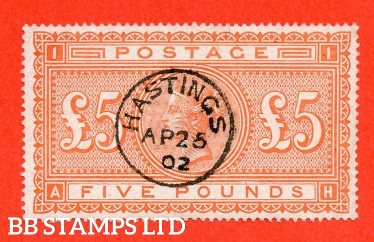 """SG. 137. J128a. """" AH """". £5.00 Orange. A superb """" 28th April 1902 HASTINGS """" CDS used example."""