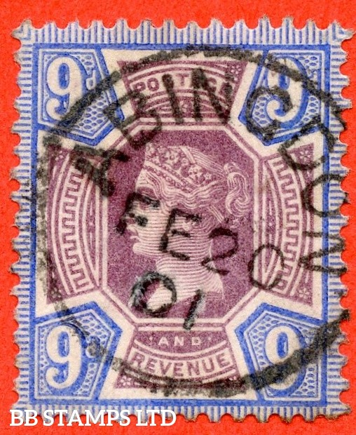 """SG. 209.  K38 (1). 9d purple & blue. A very fine """" 20th February 1901 ABINGDON """" CDS used example."""