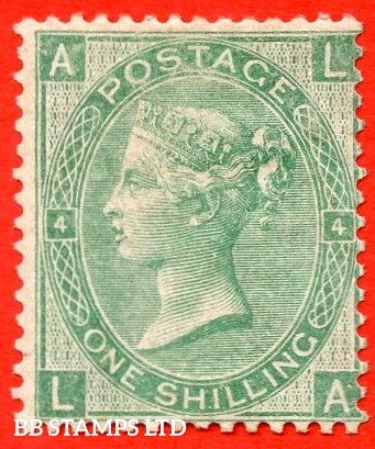 """SG. 101. J103. """" LA """". 1/- Green plate 4. A fine mounted mint example of this scarce Victorian issue."""