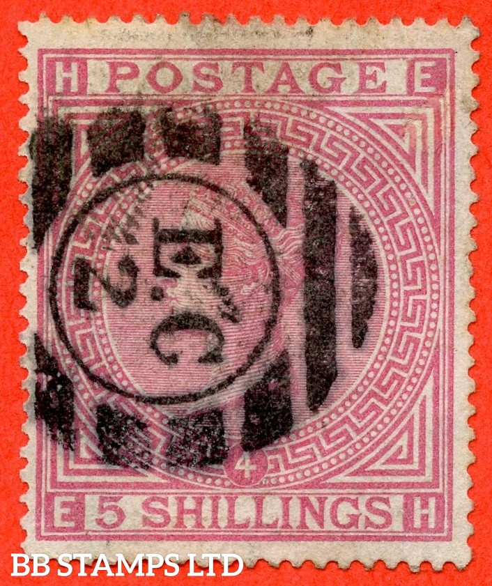 """SG. 134. J123 a. """" EH """" 5/- Rose. Plate 4. An average used example."""