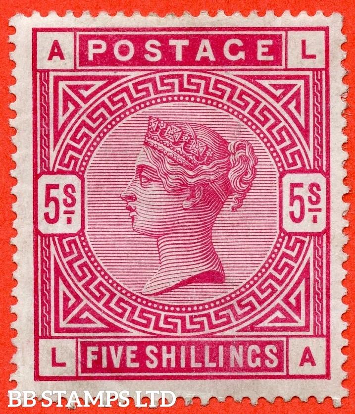 """SG. 181. K12 (2). """" LA """". 5/- Crimson. An average mint example."""