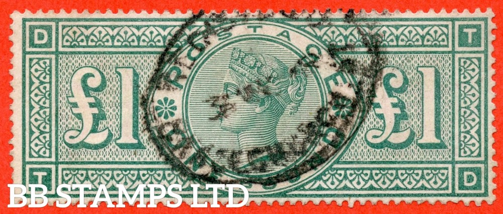 """SG. 212. K17. £1.00 Green """" TD """". A fine """" GRACECHURCH ST """" CDS used example of this classic Victorian high value"""