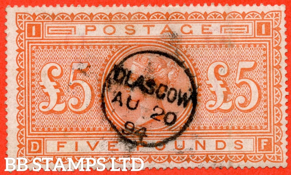 "SG. 137. J128a. "" DF "". £5.00 Orange. A good used example cancelled by a "" 20th August 1894 GLASGOW "" CDS."