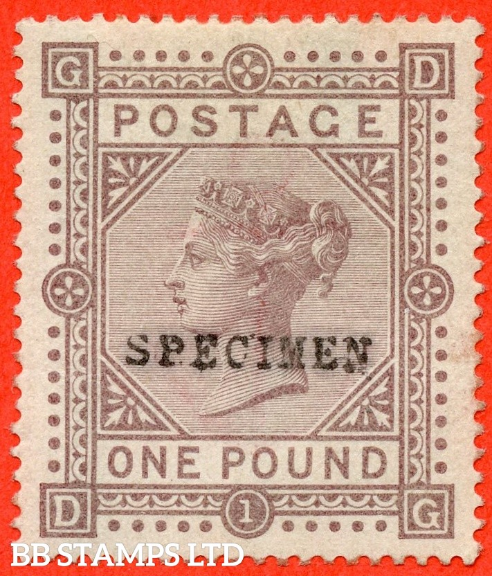 """SG. 132 s. J127 t. """" FE """" £1.00 Brown - Lilac. ( Blued Paper ). A very fine  lightly mounted mint right hand marginal example overprinted SPECIMEN type 9."""