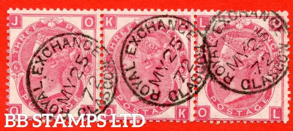 "SG. 103. J31. "" OJ OK OL "". 3d rose. Plate 6. A very fine "" 25th May 1872 ROYAL EXCHANGE GLASGOW "" CDS used horizontal strip of 3."