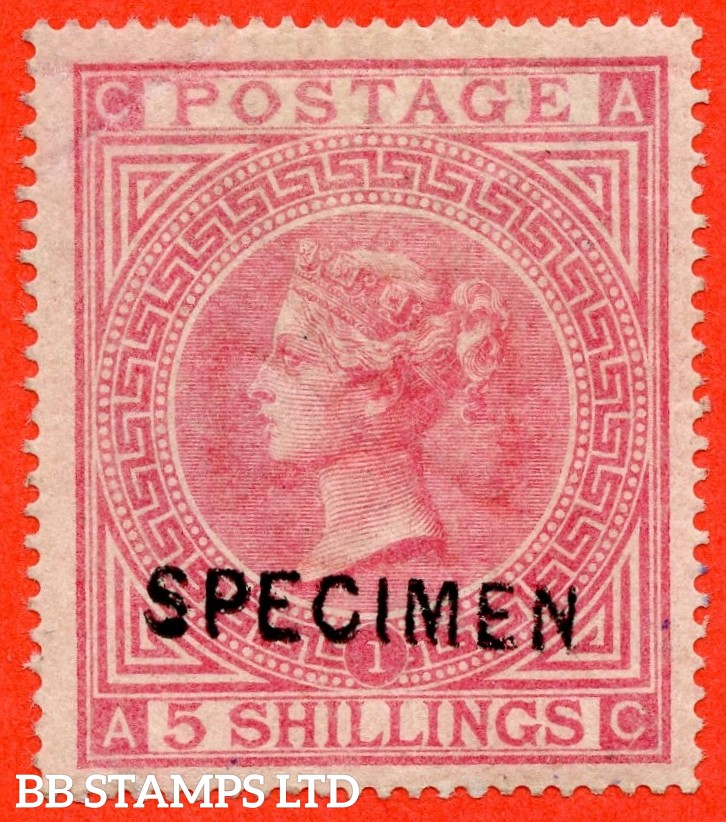 "SG. 126 s. J121 (1) t. "" AC "". 5/- Rose. Plate 1. A fine mounted mint example overprinted SPECIMEN type 6. Light corner crease but a great spacefiller."