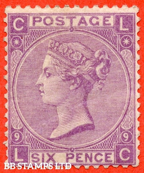 """SG. 109. J77. """" LC """". 6d Mauve. Plate 9. A fine UNMOUNTED MINT example."""
