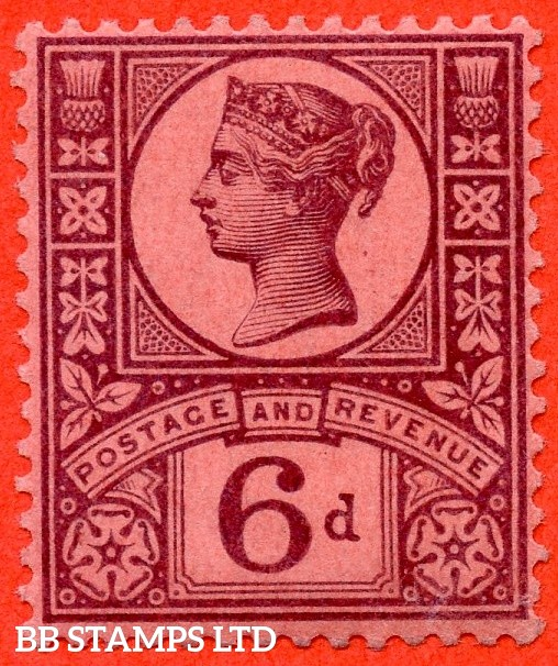 SG. 208. K37 (1).  6d purple on rose- red paper. A fine UNMOUNTED MINT example complete with RPS certificate and so excellent for reference.
