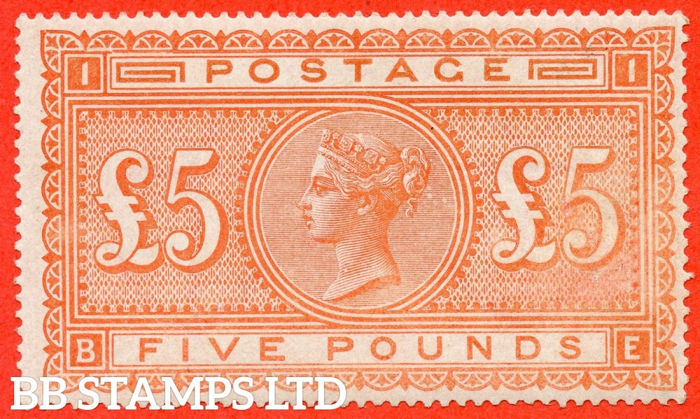 "SG. 137. J128a. "" BE "". £5.00 Orange. A very fine lightly mounted mint example."