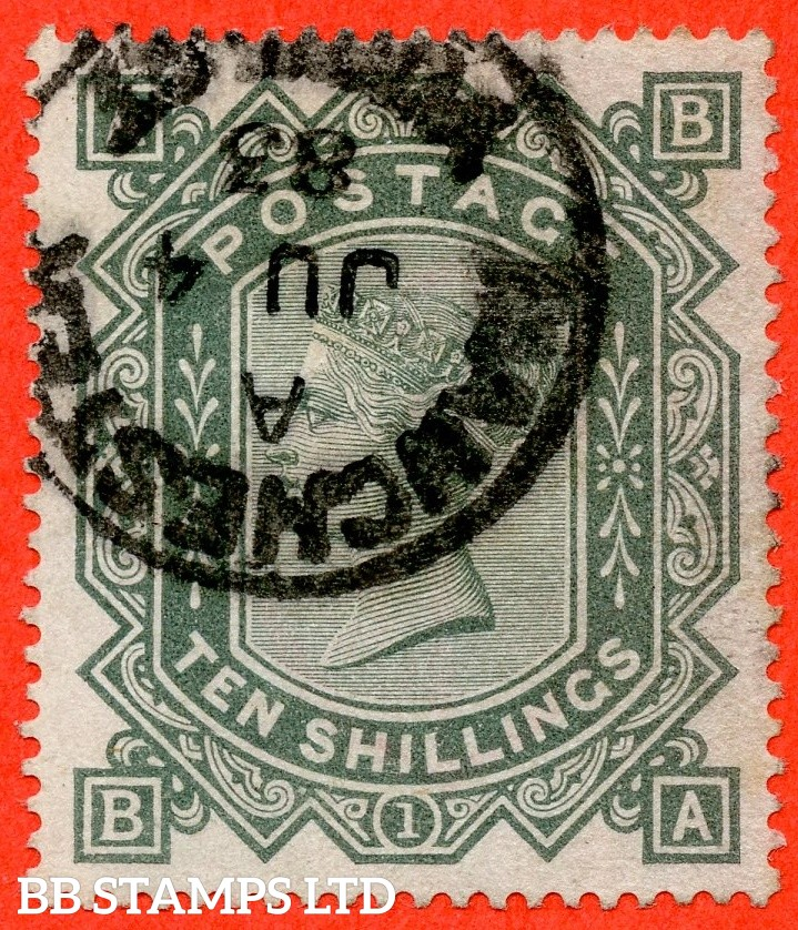 "SG. 131. J125. "" BA "". 10/- Greenish - Grey ( Blued paper ). A very fine "" 4th June 1883 MANCHESTER "" CDS used example."