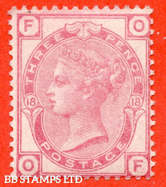 """SG. 144. J42. """" OF """". 3d Pale Rose plate 18. A very fine UNMOUNTED MINT example."""