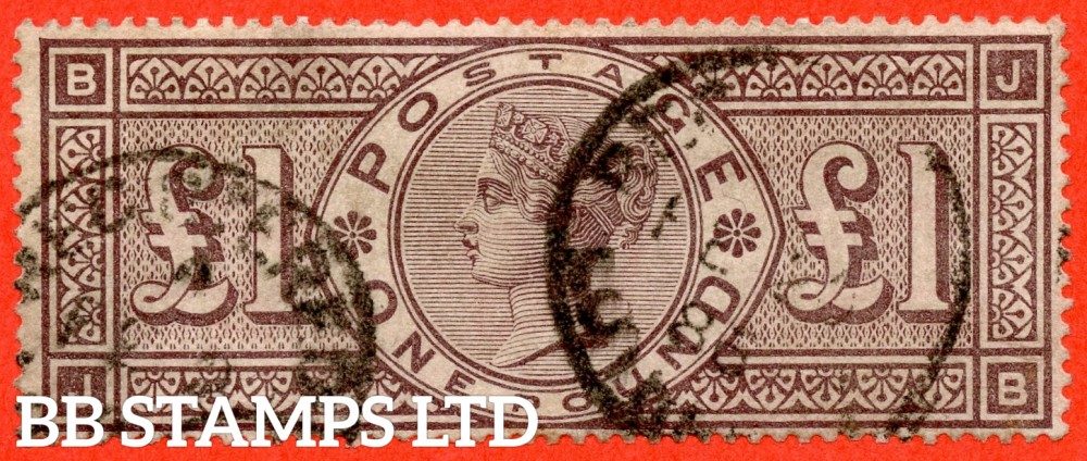"SG. 185. K15. "" JB "". £1.00 Brown - Lilac. A fine used example of this RARE Victorian high value."