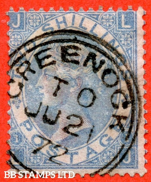 "SG. 120 b. J118 (5). "" LJ "". 2/- milky blue.. A very fine "" 21st July 1872 "" CDS  used example of this scarce Victorian issue."