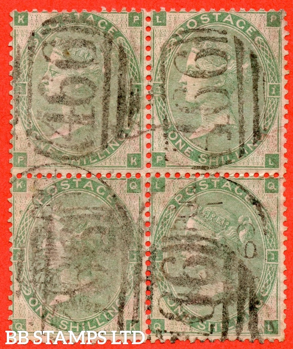 """SG. 90. J101 (2). """" PK PL QK QL. 1/- Green. A very fine used block of 4. A very scarce multiple."""