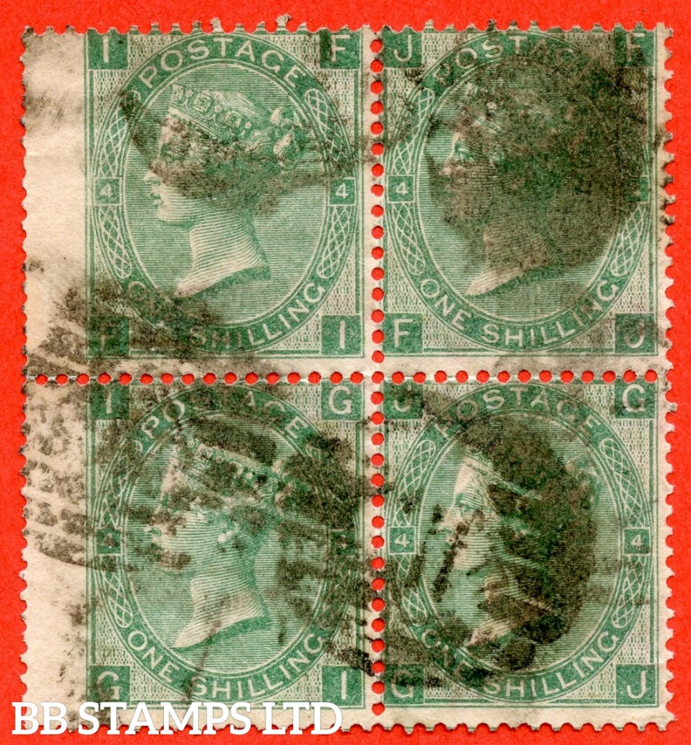 "SG. 101 b. J103 c. "" FI FJ GI GJ "". 1/- Green. Plate 4.  used block of 4 which is very scarce on this issue."