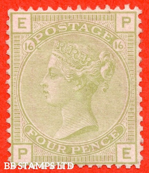 """SG. 153. J65. """" PE """". 4d sage green. Plate 16. A fine mounted mint example."""