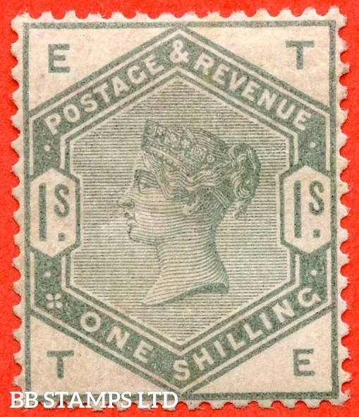 """SG. 196. K26. """" TE """". 1/- dull green. A fine mounted mint example of this difficult mint Victorian stamp."""