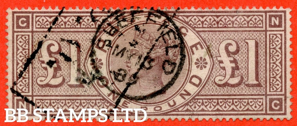 """SG. 186. K16. """" NC """". £1.00 Brown - Lilac. A fine """" March 13th 1889 SHEFIELD """" CDS used example of this RARE Victorian high value."""