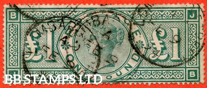 """SG. 212. K17. £1.00 Green """" JB """". A good """" February 9th 1894 """" CDS used example of this classic Victorian high value"""