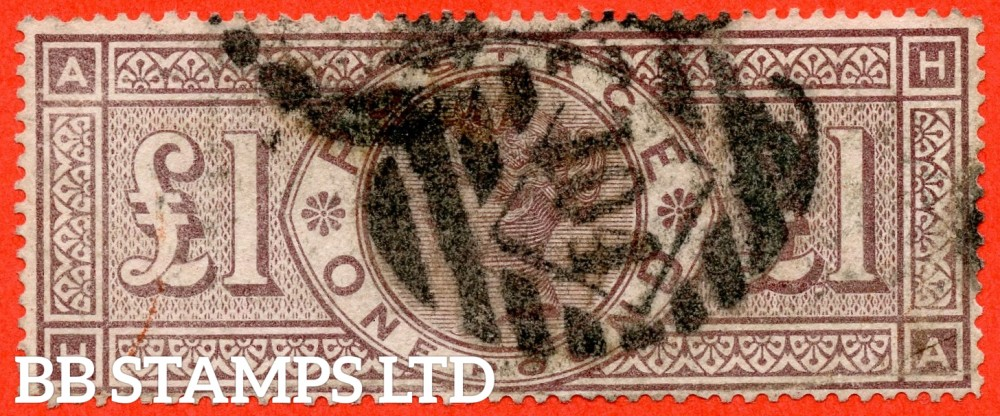 """SG. 186. K16. """" HA """". £1.00 Brown - Lilac. A used example of this RARE Victorian high value. Minor Faults but a great spacefiller."""