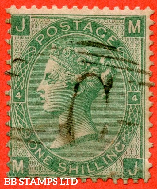 """SG. 101b. J103c. """" MJ """". 1/- Green. Plate 4. A very fine used example cancelled by a """" C """" of CONSTANTINOPLE."""